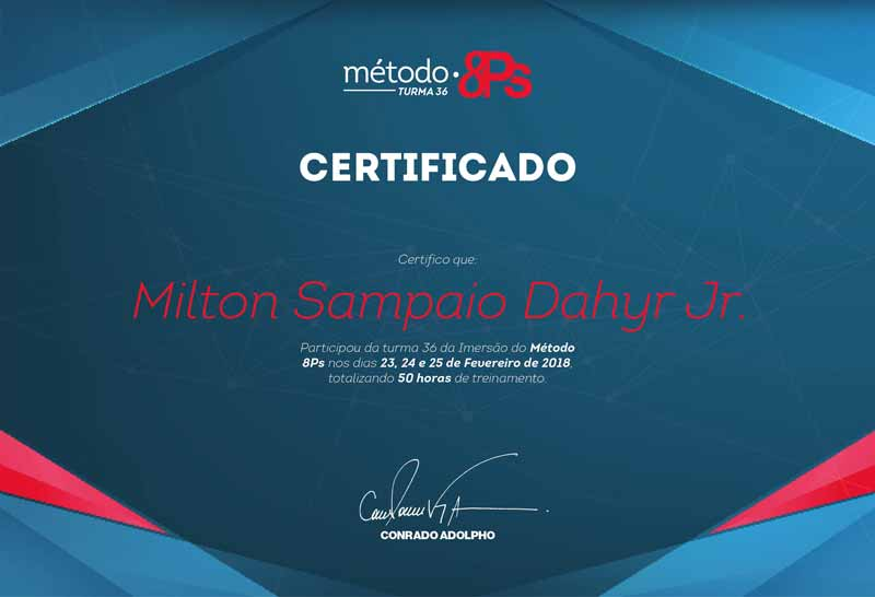 Metodo 8ps Certificado Milton S Dahyr Junior